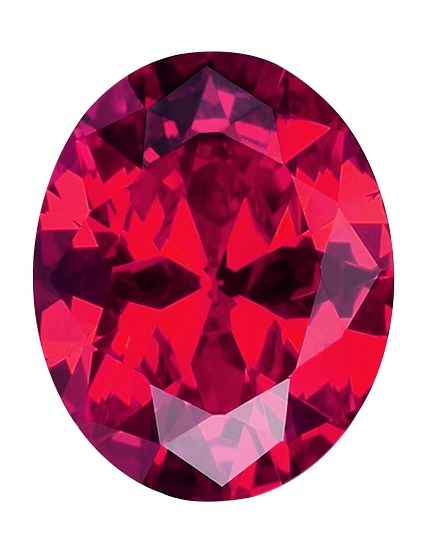 Synthetic Ruby - Corundum Oval - red #5 (OS)
