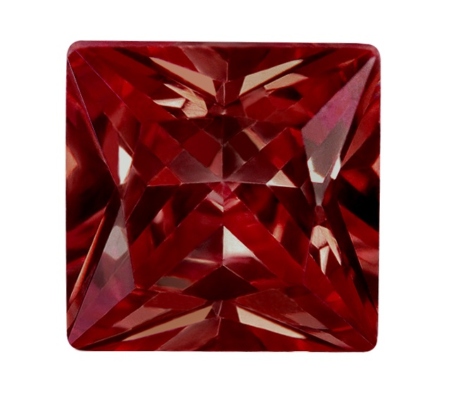 Synthetic Ruby - Corundum Square (Chamfer) - red #8 (SQP)
