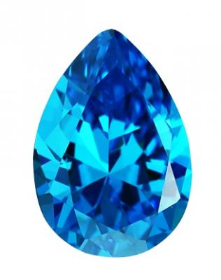 Cubic Zirconia - Pear - Blue (PS)